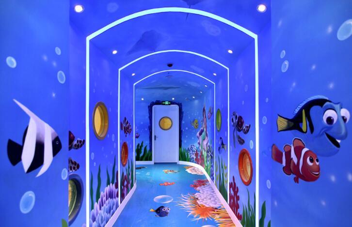 [幼儿园墙绘]红黄蓝幼儿园海底世界彩绘